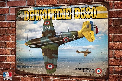 Plaque métal déco chasseur Français Dewoitine D-520, warbirds WW2.