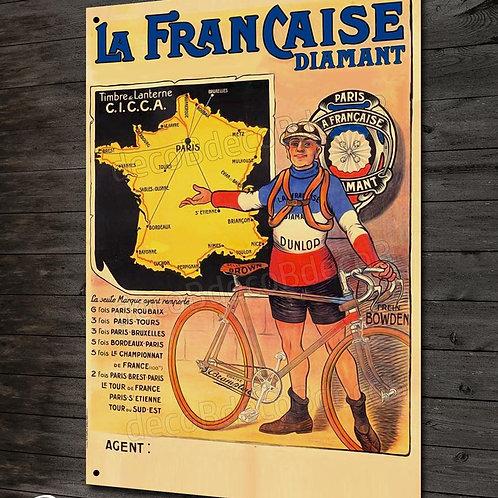 Plaque métal reproduction affiche vintage vélo La Française Diamant cyclisme