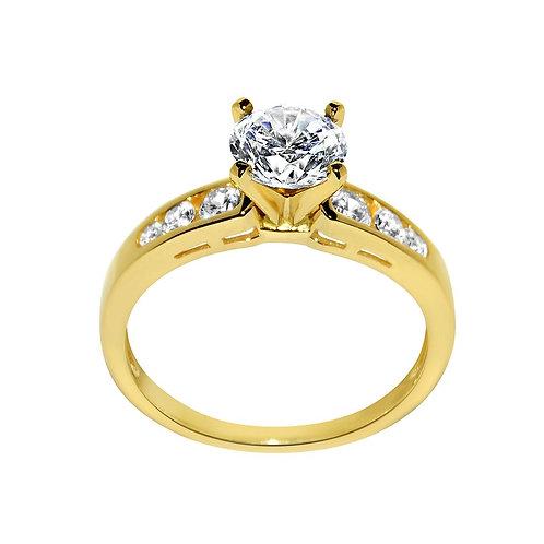 14k Yellow Gold 1 3/8ct TGW Round-cut Diamonette Engagement Ring