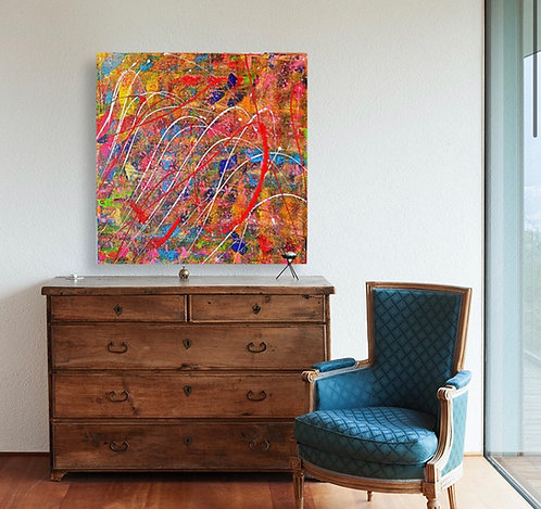 """""""Fall the Lines"""" - Original Abstract Acrylic Painting by Pink May Khen"""