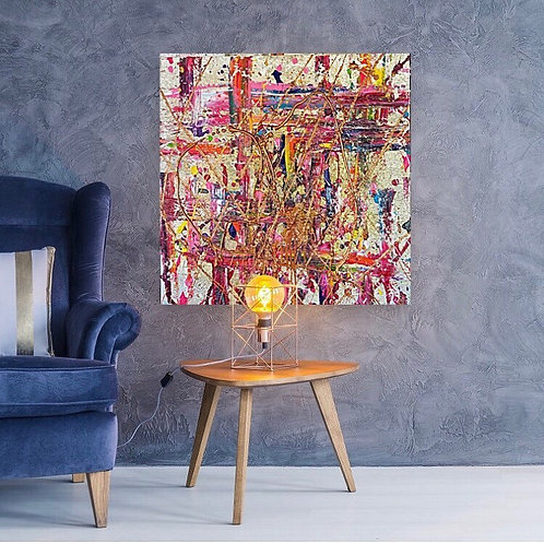 """""""Old love prisoner"""" 100x100cm  Painting by Pink May Khen"""