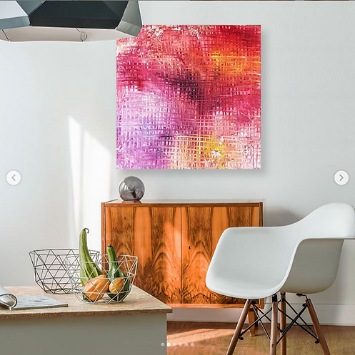"""""""Choosing Right"""" - Original Abstract Acrylic Painting by Pink May Khen"""