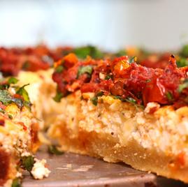 Tarta de ricota con tomates secos