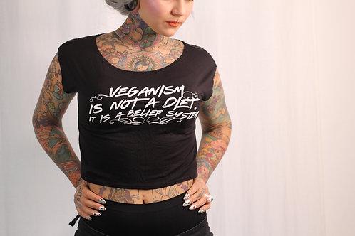 Veganism is not a diet lace crop top
