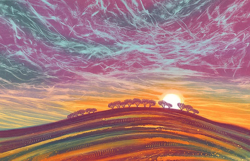 Last light monoprint Rebecca Vincent Northumberland printmaker trees sunset purple