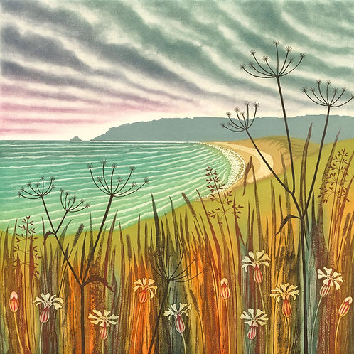 On the Right Path etching by Northumberland landscape painter artist Rebecca Vincent coast seaside beach bay pembrokeshire