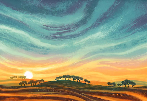 Rebecca Vincent landscape artist big sky sunset sunrise trees gold blue northumberland painting print