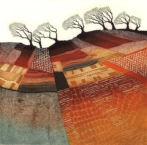 Rebecca Vincent windswept trees greetings card patchwork landscape art cards uk