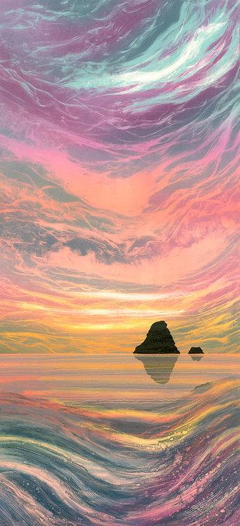 Rebecca Vincent seascape painting fine art sunrise dawn rock island sea pink sky