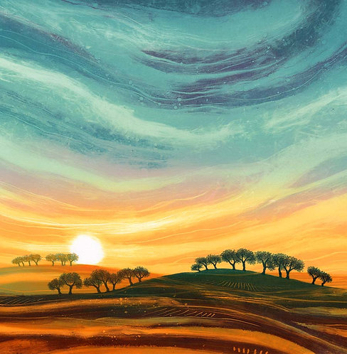 Rebecca Vincent artist greeting card landscape sunset trees UK