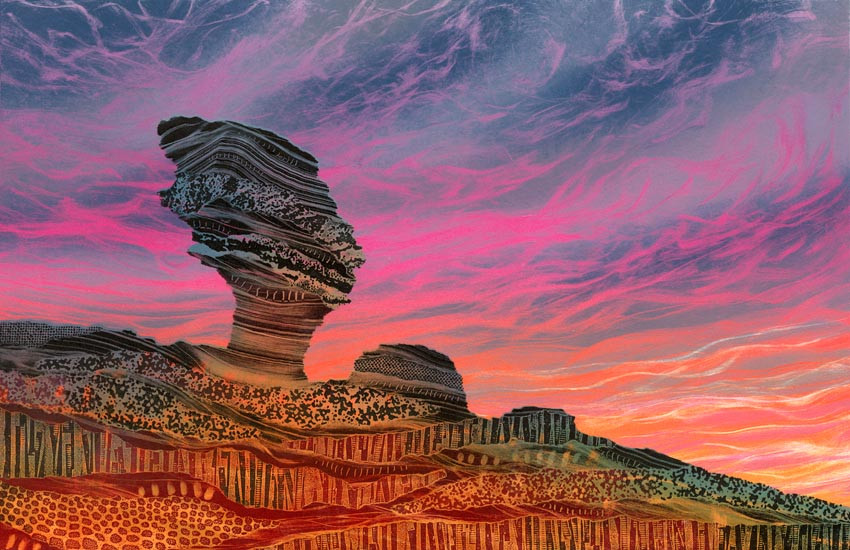 Painting print Rebecca Vincent Bridestones crosscliff blakey topping Yorkshire