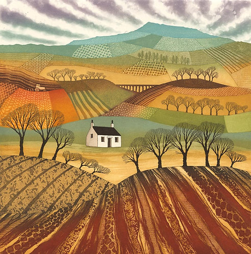 Plough the Fields greetings card by UK printmaker art Rebecca Vincent colour Yorkshire