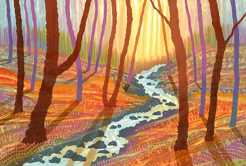 Rebecca Vincent autumn woodland monotype painting with stream