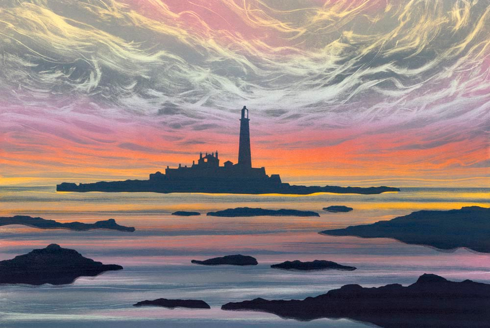 Rebecca Vincent landscape painting UK. Dawn Light st Mary's Island Northumberland views. Sunrise colours sea sky and rocks