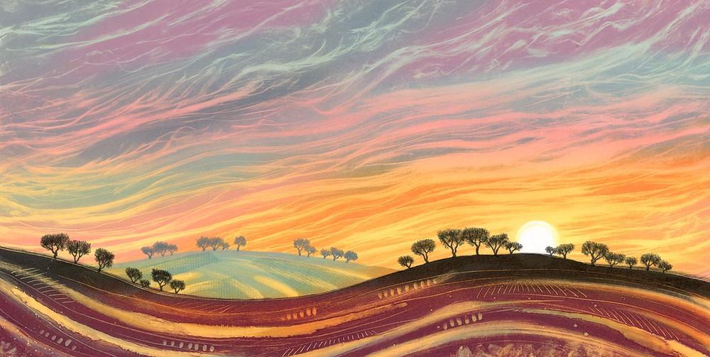 Rebecca Vincent landscape painting UK. Sunset on the rolling hills.