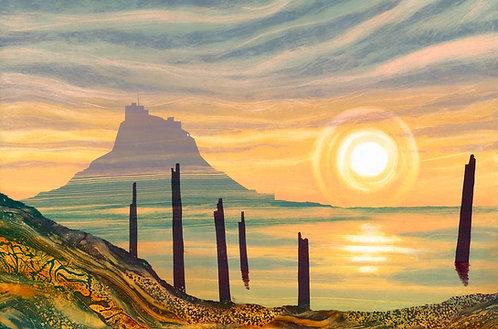 Sunrise Lindisfarne painting print by Northumberland artist Rebecca Vincent North East coast Holy Island misty