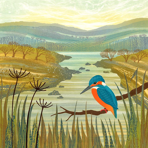 Kingfisher monotype painting by Northumberland artist Rebecca Vincent river pond