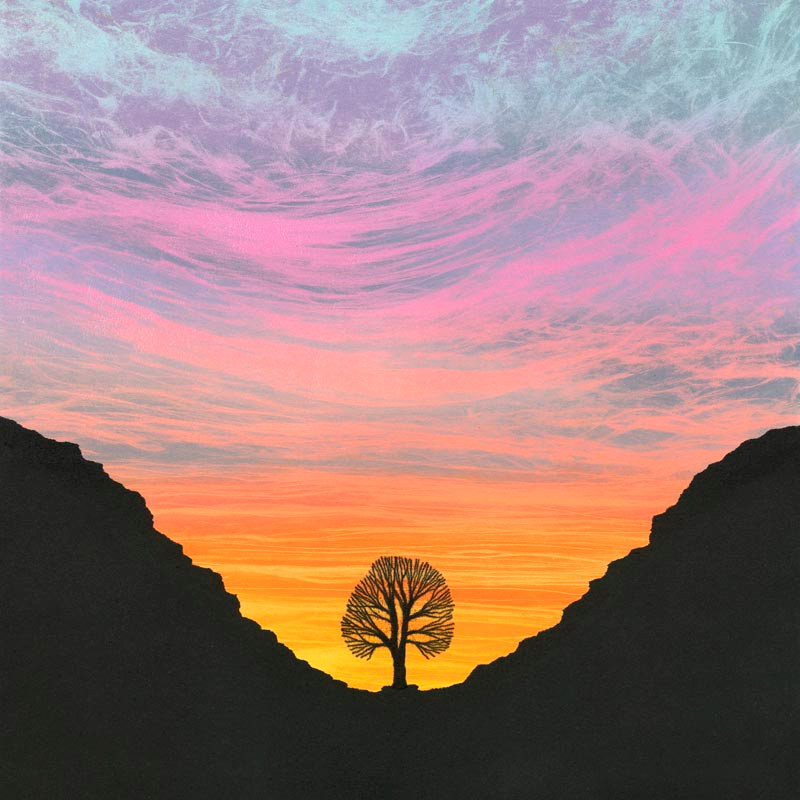 Sunset Sycamore Gap painting monotype by Northumberland artist Rebecca Vincent