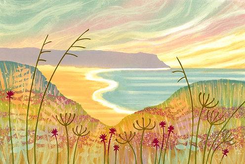 Beside the Sea print by Rebecca Vincent Seascape coast flowers sea sand