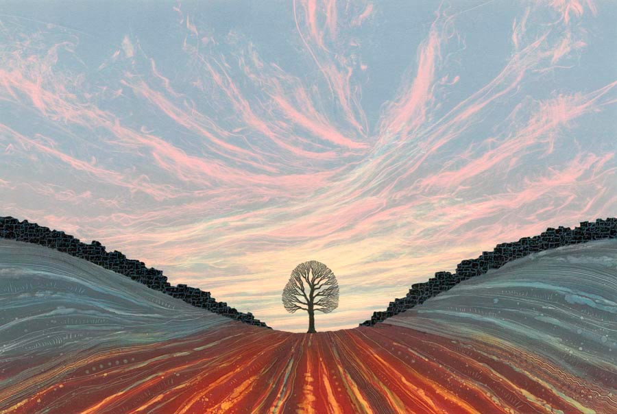 Sycamore Gap painting Northumberland National Park Hadrian's Wall Rebecca Vincent art