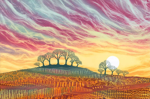 Daybreak landscape art print painting by UK Northumberland artist Rebecca Vincent trees dawn light pink