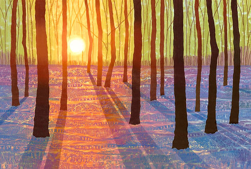 Rebecca Vincent bluebell wood painting spring shadows Northumberland