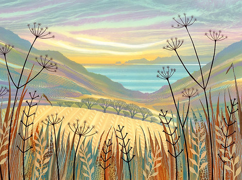 Sea view painting seedheads fields and grasses Northumberland art Rebecca Vincent