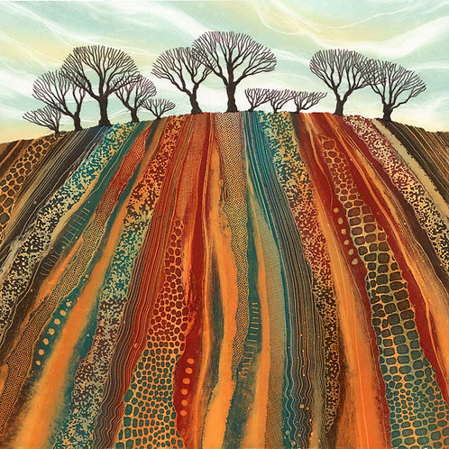 Earth Lines canvas print by Northumberland UK landscape art Rebecca Vincent ploughed fields hedgerow trees red