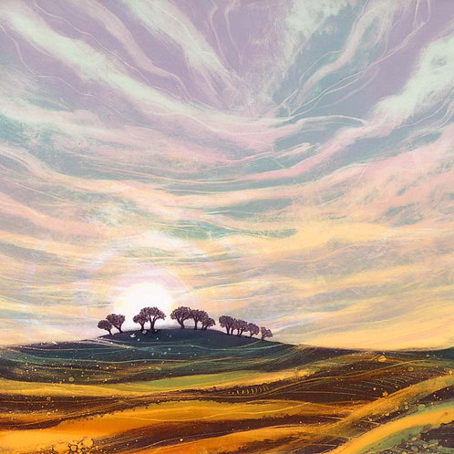 Sunrise Landscape by Northumberland landscape artist Rebecca Vincent canvas print sunrise trees
