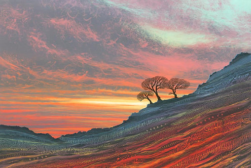 Rebecca Vincent R J Vincent canvas print sunset stormy sky craggy landscape glowing colours Northumberland art