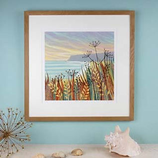 Hidden Sands framed seascape print Northumberland artists Rebecca Vincent seedheads coast