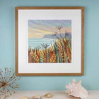 Hidden Sands framed seascape print Northumberland artists Rebecca Vincent seedheads coast
