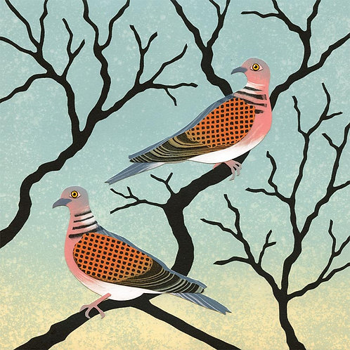 Two turtle doves artist Christmas card Northumberland art Rebecca Vincent