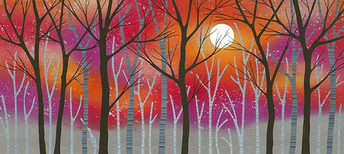 Rebecca Vincent Reveal the Light autumn colours woodland painting sun silver red gold