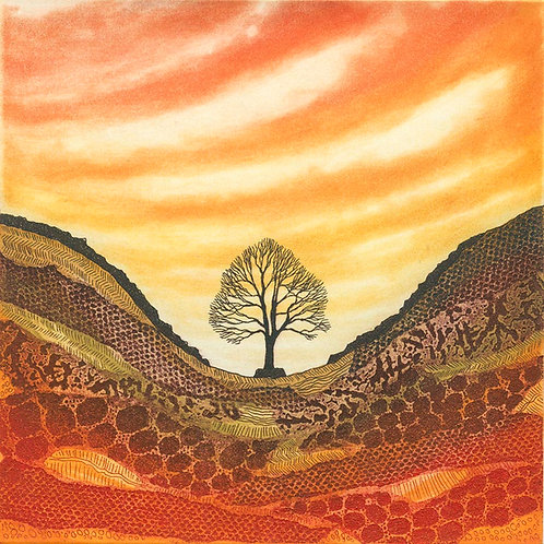 Sycamore Gap Northumberland Hadrian's Wall painting art Rebecca Vincent artist