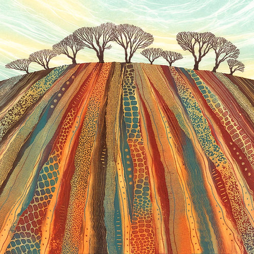 Land Lines ploughed field monotype painting North East artist Rebecca Vincent trees fields
