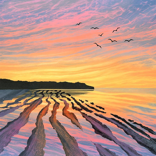 Rebecca Vincent sunset beach Northumberland art greetings card