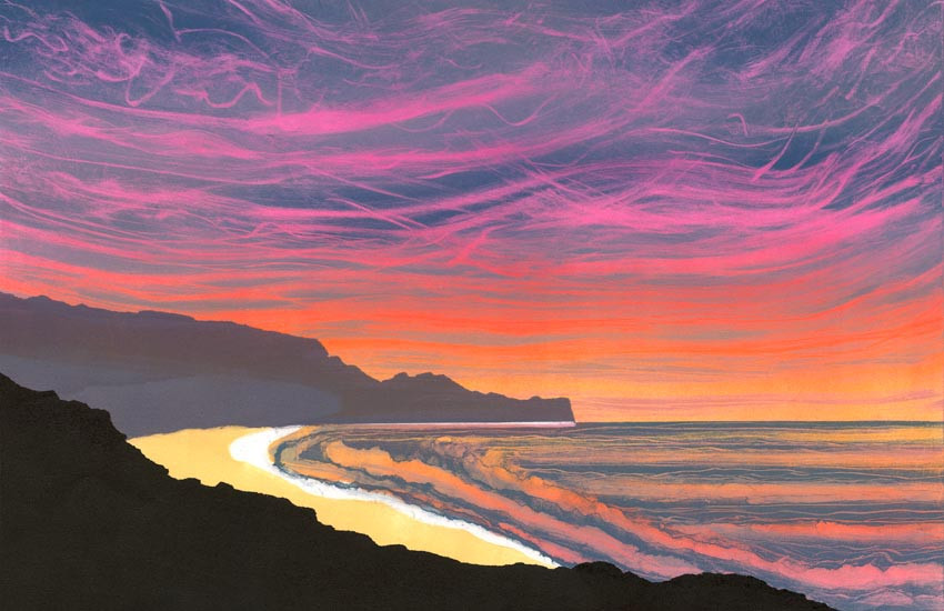 Sunrise Sandsend painting Rebecca Vincent North York Moors Yorkshire coast colourful print UK