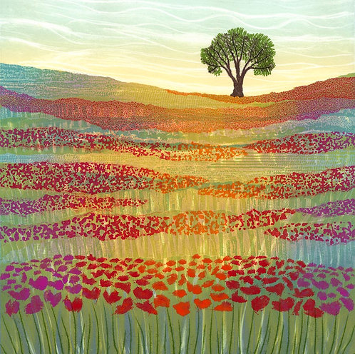 Poppy field meadow paining northumberland countryside fields poppies Rebecca Vincent lone tree