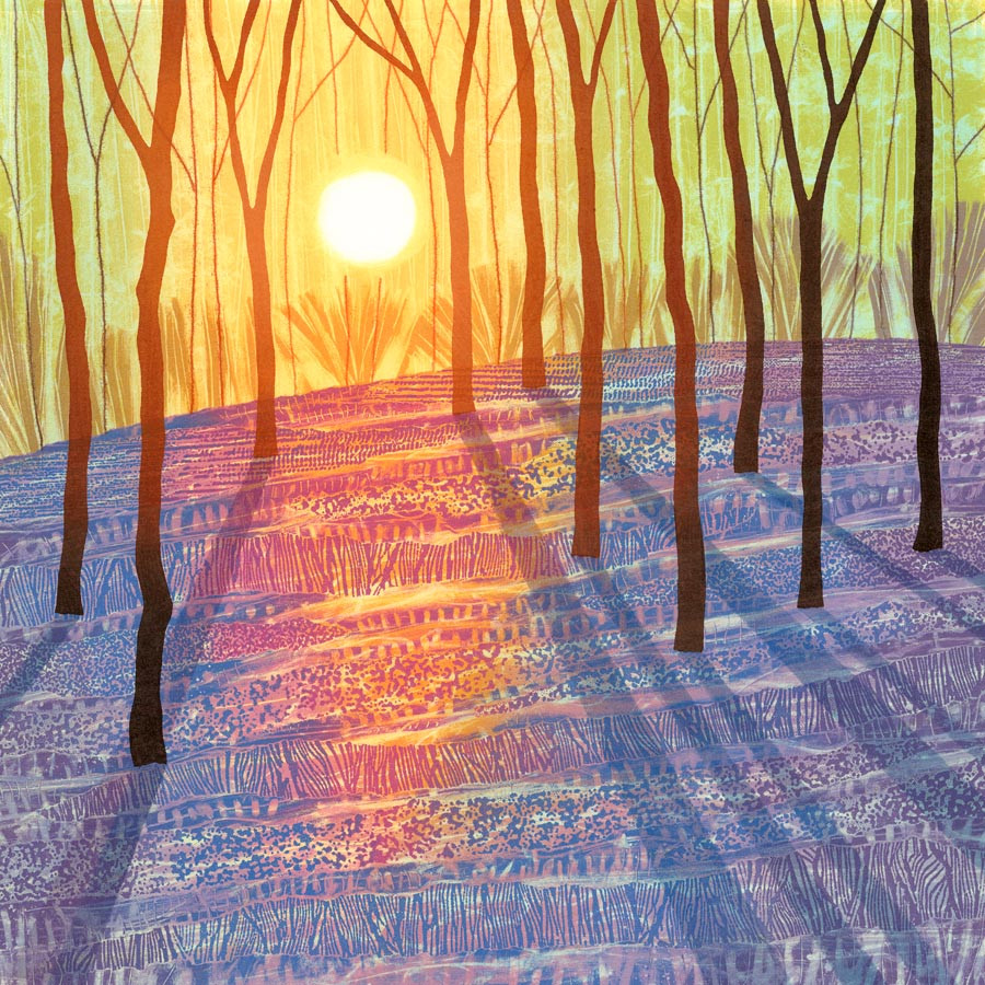 Bluebell wood painting spring forest low light monotype Northumberland landscape art Rebecca Vincent