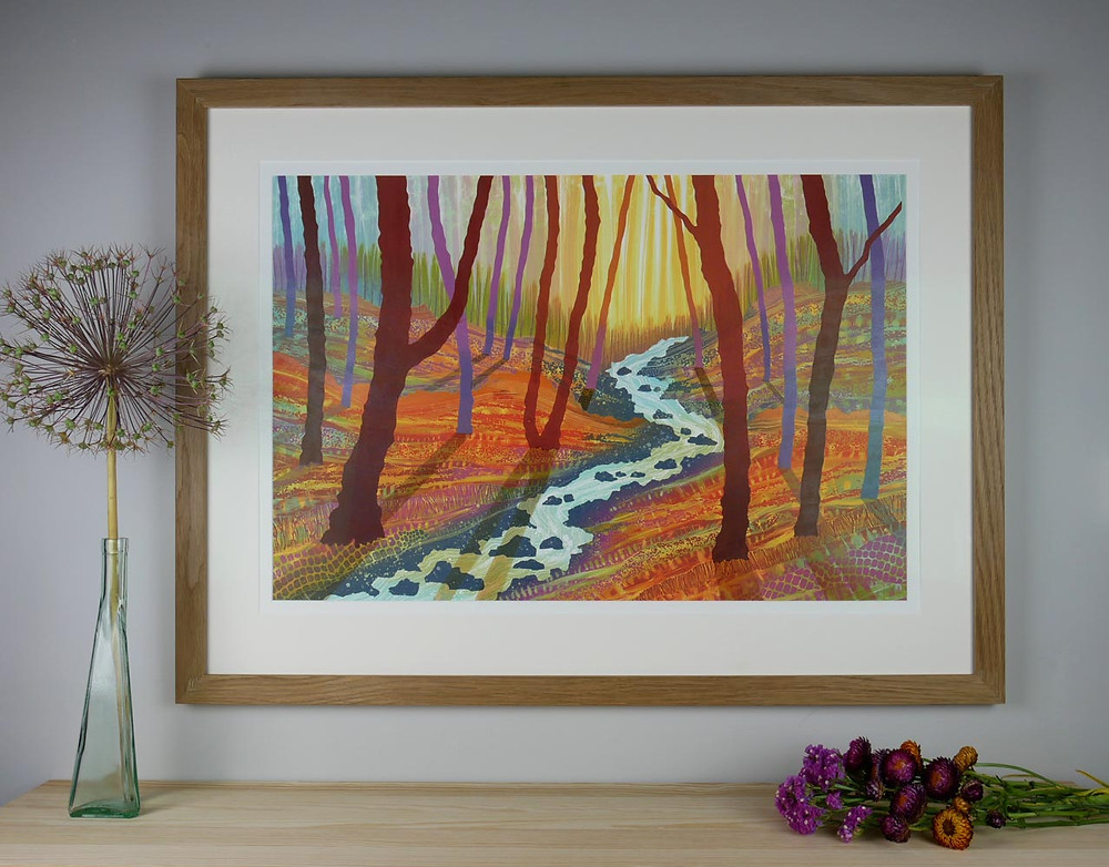 Into the Light framed woodland painting Rebecca Vincent