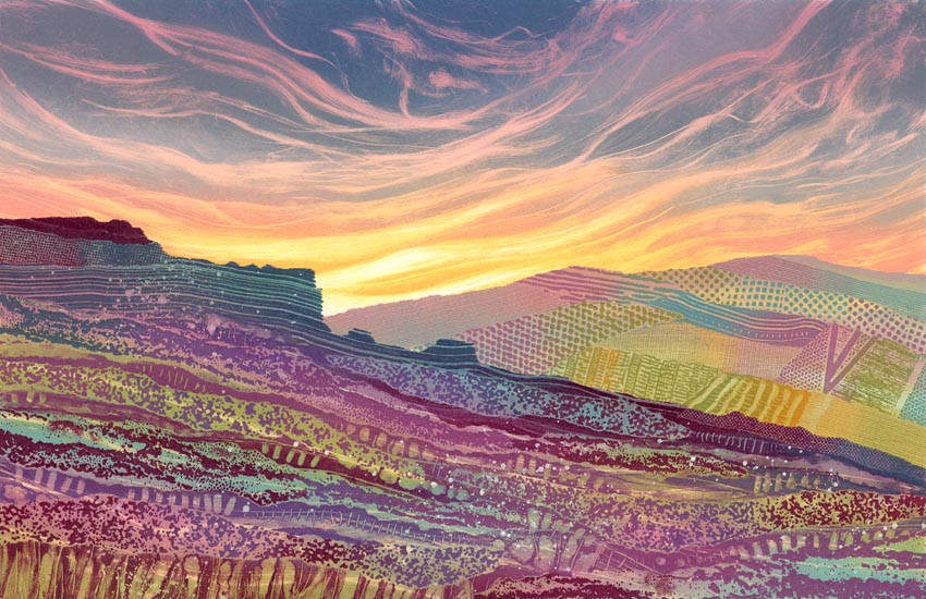 North York Moors painting by Rebecca Vincent heather moorland fields Yorkshire view