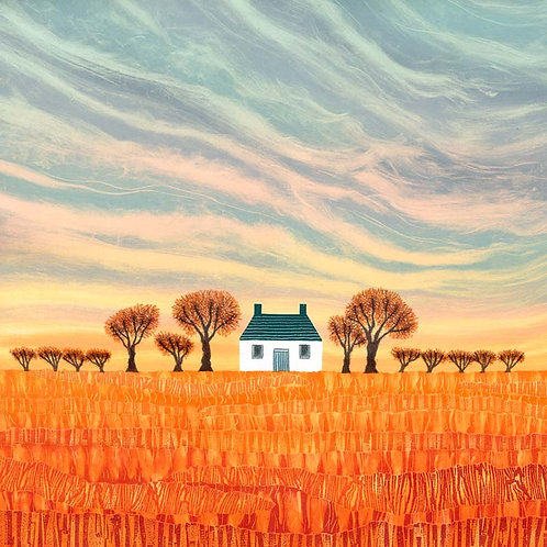 Harvest Home print by UK landscape artist printmaker Rebecca Vincent rural cottage field trees