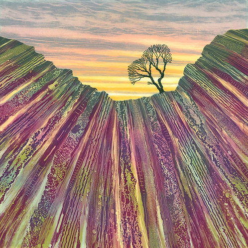 North Yorkshire lone tree painting limestone pavement heather rocky Rebecca Vincent art