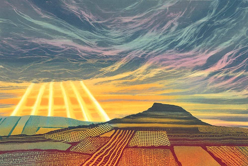 A Silver Lining Roseberry Topping North Yorkshire UK landscape painting by Rebecca Vincent
