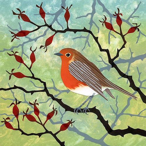 Robin Rosehips Christmas card winter printmakers Northumberland artist Rebecca Vincent