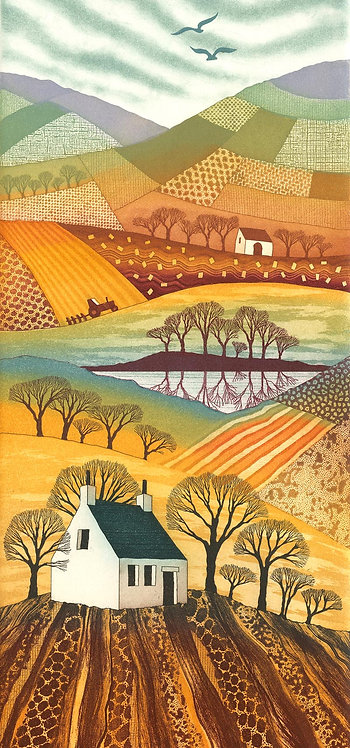 Country Reflections greetings card by Northumberland artist Rebecca Vincent patchwork fields cottage