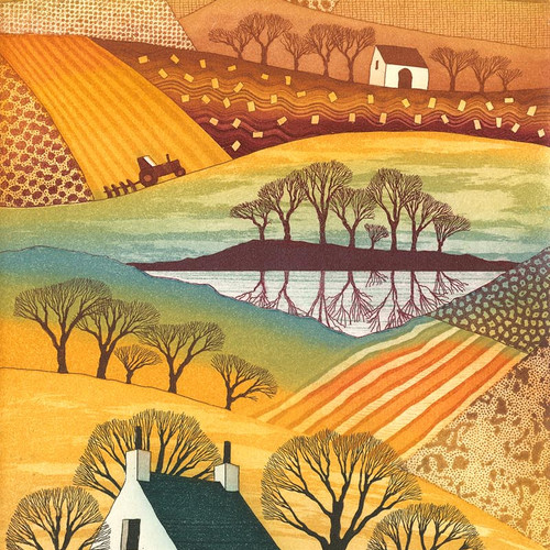 Rebecca vincent artist quality art greetings cards blank country reflections greetings card by northumberland artist rebecca vincent patchwork fields cottage m4hsunfo