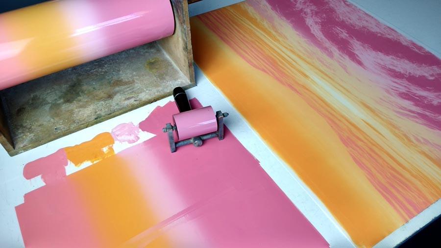 Rebecca Vincent artist studio blended colours rollers brayers