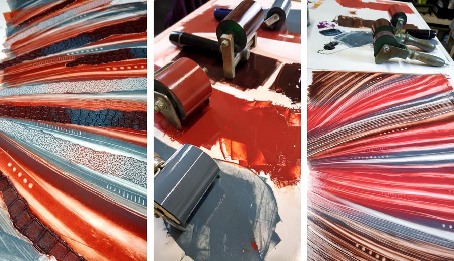 Printmaking monotype Rebecca Vincent ink rollers monoprinting red brown